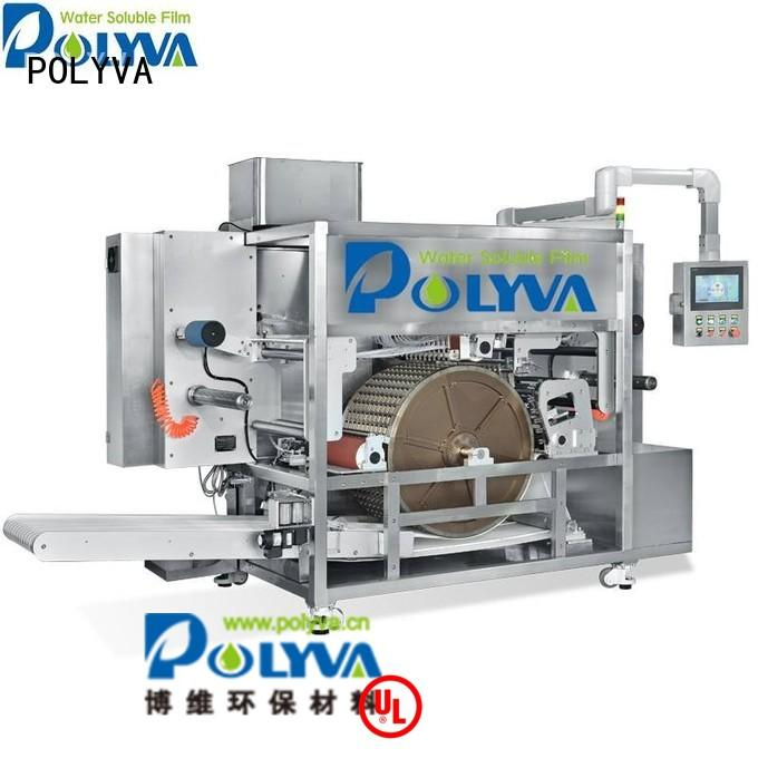 laundry machine speed water soluble film packaging pods POLYVA Brand