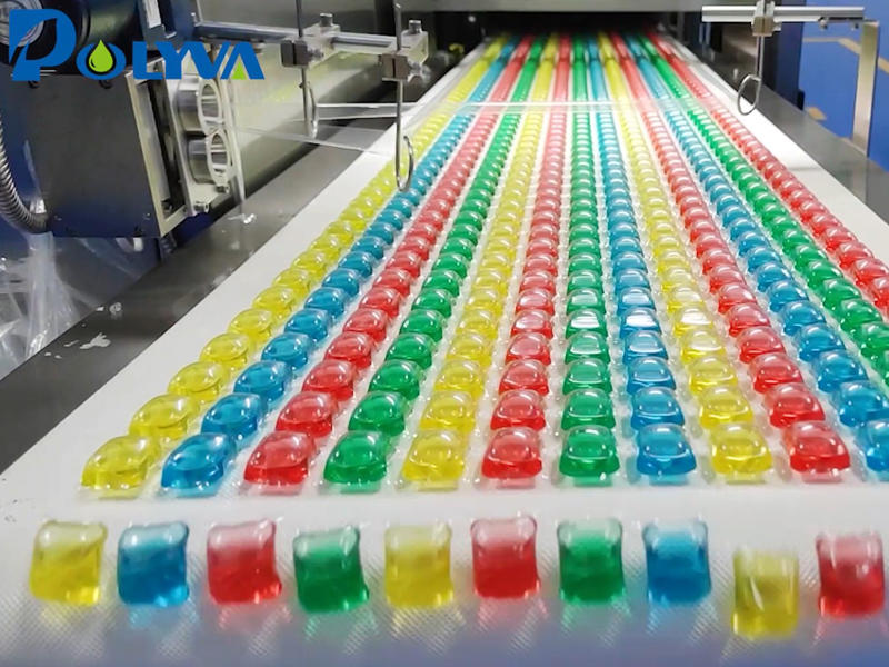 Rainbow laundry beads packaging machine equipment_2021automatic laundry pods foot bath capsules packaging equipment_high-speed Polyva factory direct sales