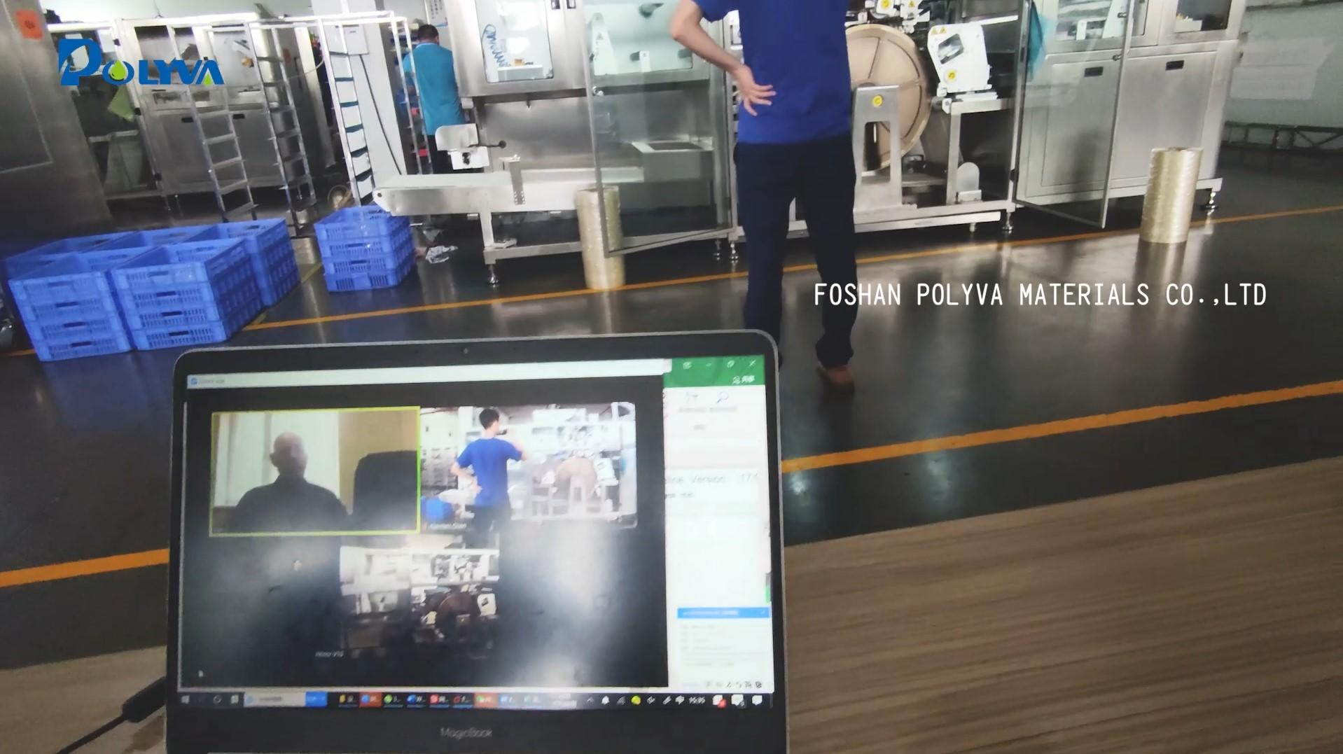Polyva's foreign customers inspection and acceptance of the laundry detergent pods packaging machine by the live broadcast.